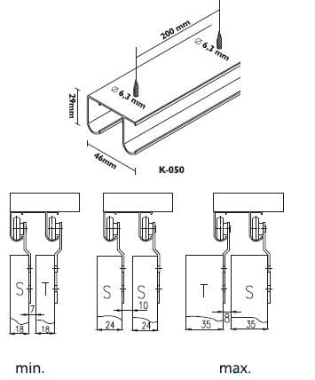schiebet rbeschlag f r 2 t ren bis 50 kg laguna unifuture ebay. Black Bedroom Furniture Sets. Home Design Ideas